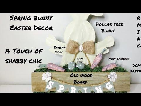 Farmhouse Style Spring Bunny Easter Decor/Dollar Tree DIY