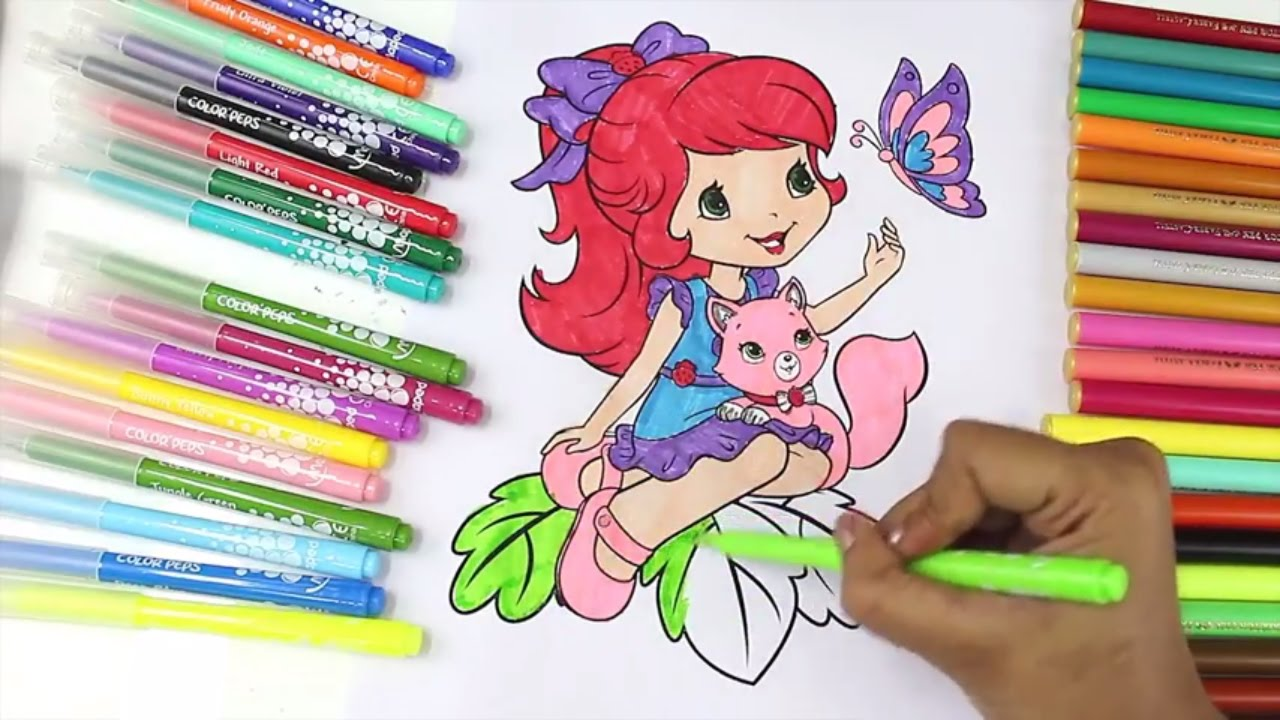 Coloring art activities - Coloring Pages Strawberry Shortcake Cherry Jam Videos For Kids Fun Art Activities Colored Markers