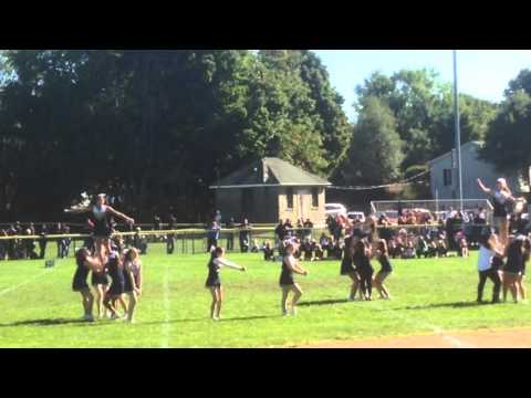 Oakland, NJ Brave Cheerleader Sr. A halftime show at Memorial Field, Wanaque, NJ beat the Warriors