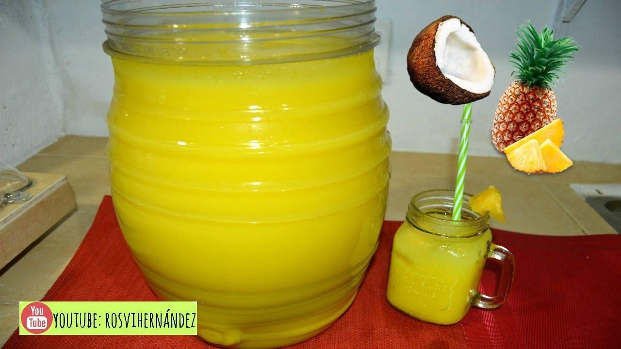 Haz agua de pina colada para negocio o consumo rosvi for Aguas frescas citricas naturales con