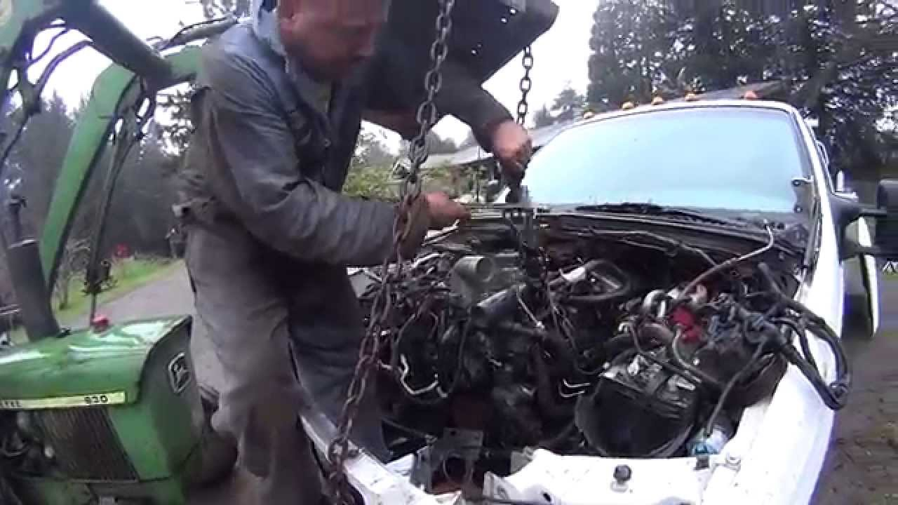 How To Install Ford 60 Power Stroke Turbo Diesel V8 Engine Motor Without Lifting the Cab  YouTube