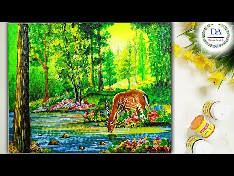 Green Landscape with Deer Acrylic Painting | Step by Step For Beginners