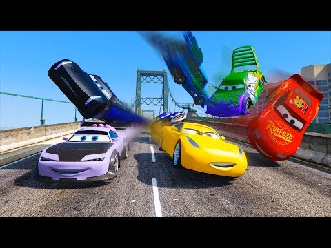 Thumbnail: Street Race Crash Cars 3 McQueen Jackson Storm Cruz Ramirez Boost Wingo & Friends Disney Pixar Cars