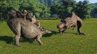 Stegosaurus(Fully Modified) VS All Carnivores - Jurassic World Evolution