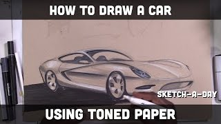 How to draw a sports car on toned paper with markers and pencils