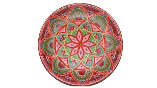 Керамическая тарелка. Точечная роспись. Мастер класс.