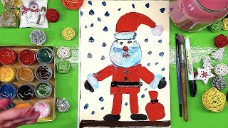 Дед Мороз КРАСКАМИ рисуем ГУАШЬ урок рисования от Рыба Кит папа рисует