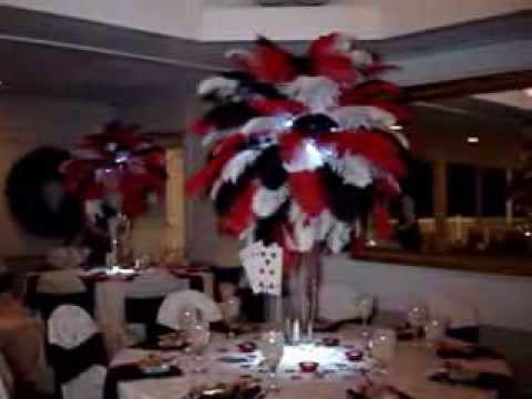 Vegas Themed Ostrich Feathers in Red Black  White at the