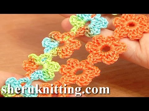How To Crochet Flowers Thick Petals Tutorial 44 : Crochet Floral Cord Lace Tutorial 51 Small Six-Petal ...