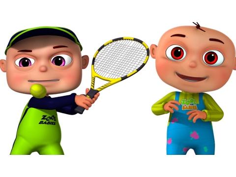Zool Babies Playing Tennis Cartoon Animation For Children Funny - cartoon children play