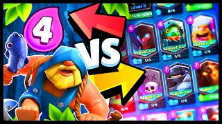 NEW! FISHERMAN Gameplay vs ALL CARDS | Clash Royale 1v1 Battle Highlights