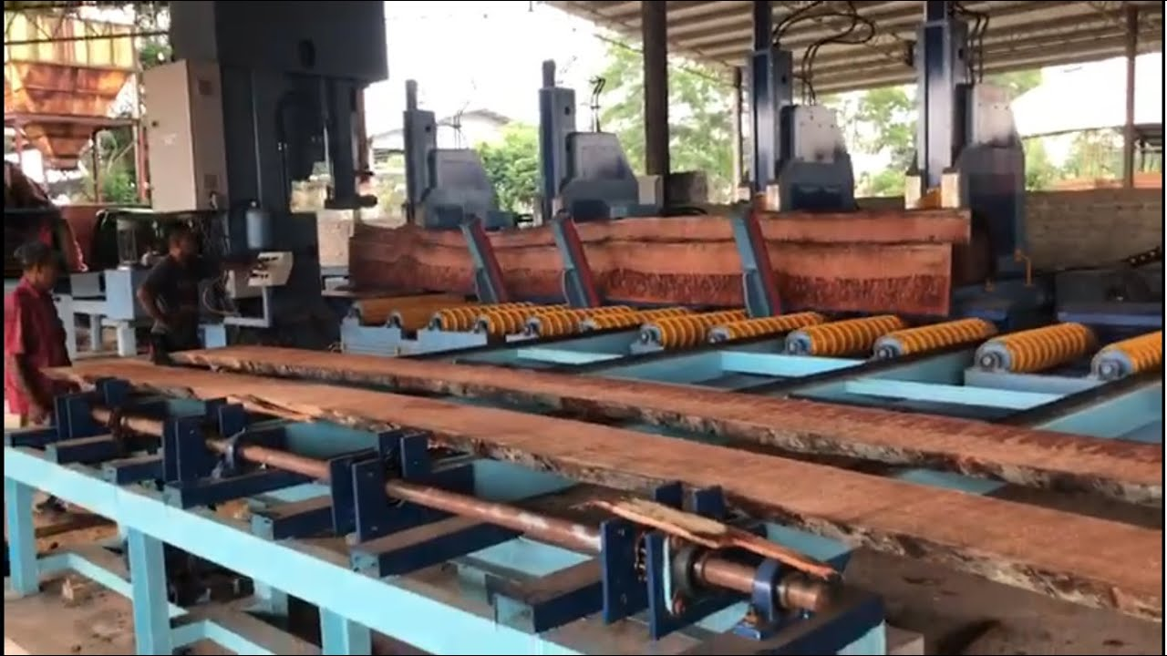 FIMAKSAN Malaysia Sawmill Tropical Log Carriage - FIRST TEST CUT AFTER INSTALLATION