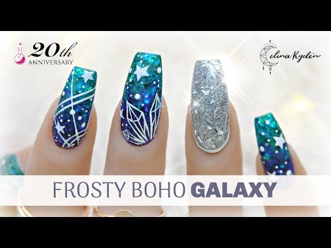 "GEL NAIL TUTORIAL | FROSTY BOHO GALAXY + SHATTERED GLASS NAIL | LIGHT ELEGANCE ""CHAMPAGNE & CAVIAR"" thumbnail"