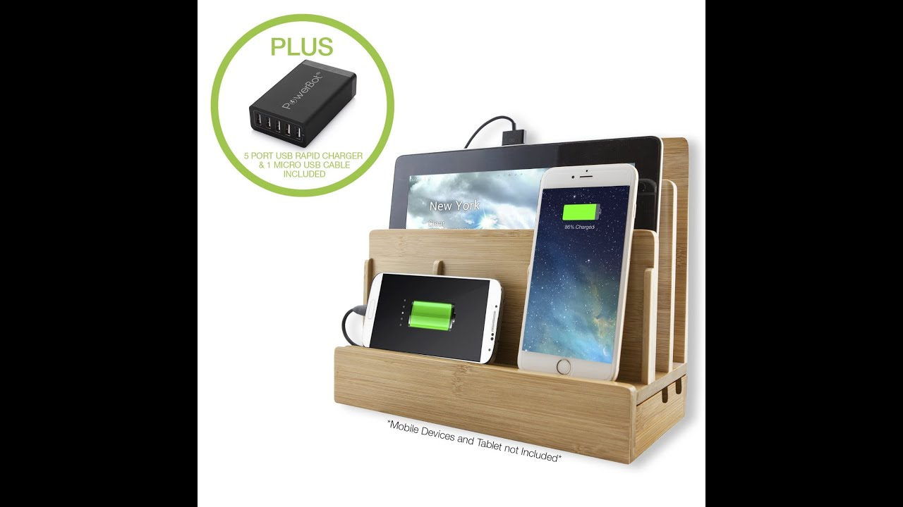 Powerbot Pb5100 Bamboo Multi Charging Station W 5 Ports Usb Desktop Charger You
