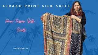 Ajrakh Print Silk Suits | Pure Tussar Silk Suits | Crepe Suits | Majha Creations