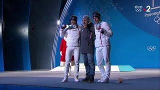 JO 2018 : Combiné alpin - Le podium d'Alexis Pinturault et Victor Muffat-Jeandet en combiné hommes