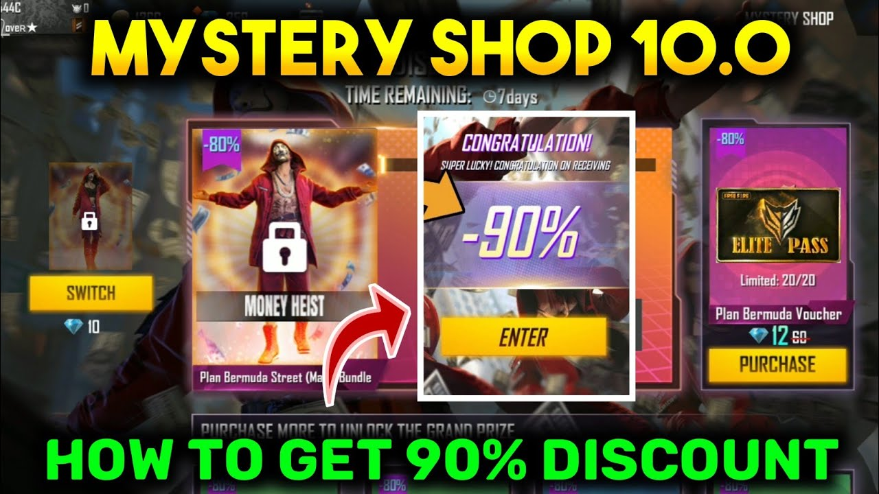 MYSTERY SHOP 10.0 - GARENA FREE FIRE || HOW TO GET 90% DISCOUNT IN MYSTERY SHOP 10.0 FREE FIRE