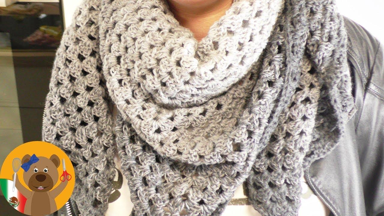 Crochet chal XXL|Hermoso chal triangular con una madeja de lana|Rico ...