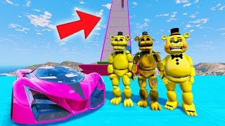 ALL GOLDEN FREDDY'S STUNT ON WORLD'S BIGGEST RAMPS IN HISTORY (GTA 5 Mods FNAF Funny Moments)