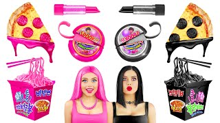 BLACK vs PINK Food Challenge | Girls War with Pink and Black Unusual Yummies by RATATA CHALLENGE