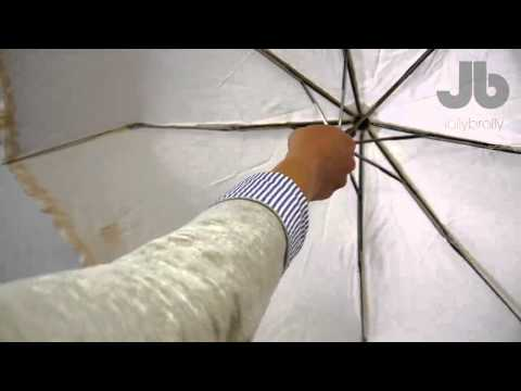 Beige umbrella with frill
