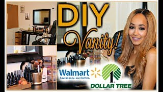 DOLLAR TREE & WALMART DIY Vanity Set Up - Vanity On A Budget! ♥︎ ♥︎   | Kym Yvonne