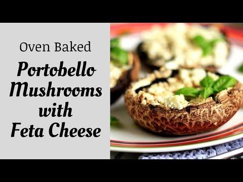 OVEN BAKED PORTOBELLO MUSHROOMS WITH FETA CHEESE - VEGETARIAN RECIPE | INTHEKITCHENWITHELISA