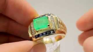 3.20cts Handsome Colombian Emerald Sapphire and Diamond Mens Ring 14k