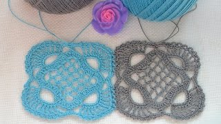 ♥ Безотрывное вязание мотивов Королевские квадраты крючком • Royal motif • ellej.org