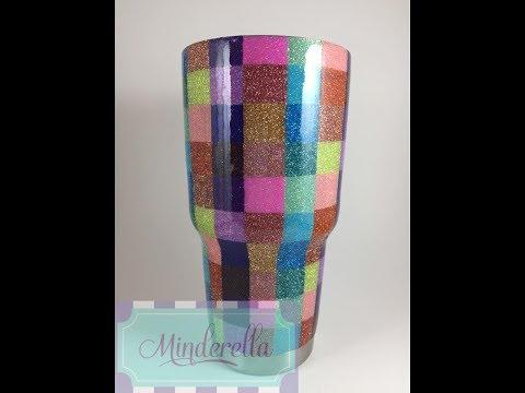 DIY: Checkered Glitter Tumbler Tutorial