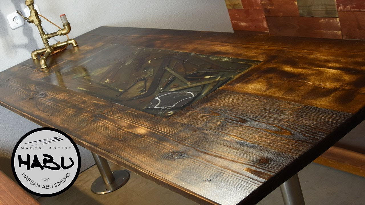 Habu Building A Rustic Dining Table With Epoxy Tool Inlay