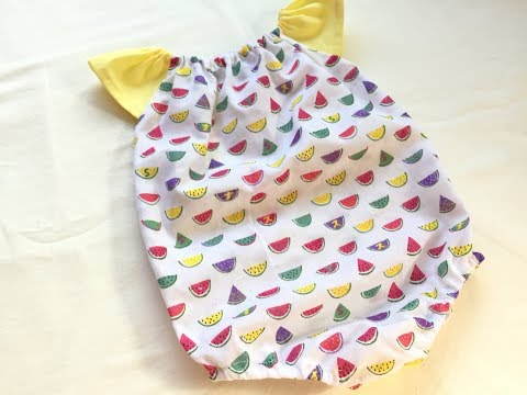 【型紙不要】100均の手ぬぐいとハギレで作る赤ちゃんのロンパースの作り方★How to make a baby romper