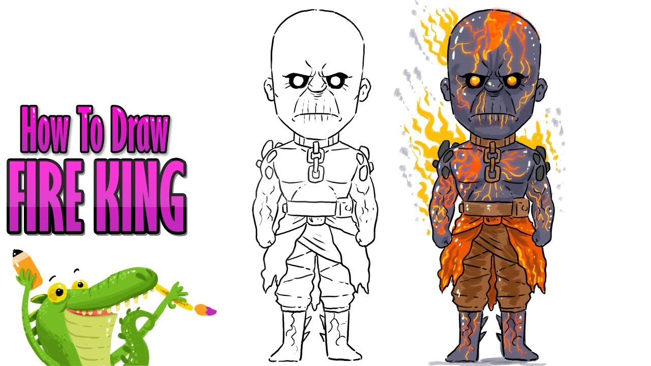 How To Draw And Coloring Snow Fall Skin Fire King Fortnite Easy Step By Step For Kids