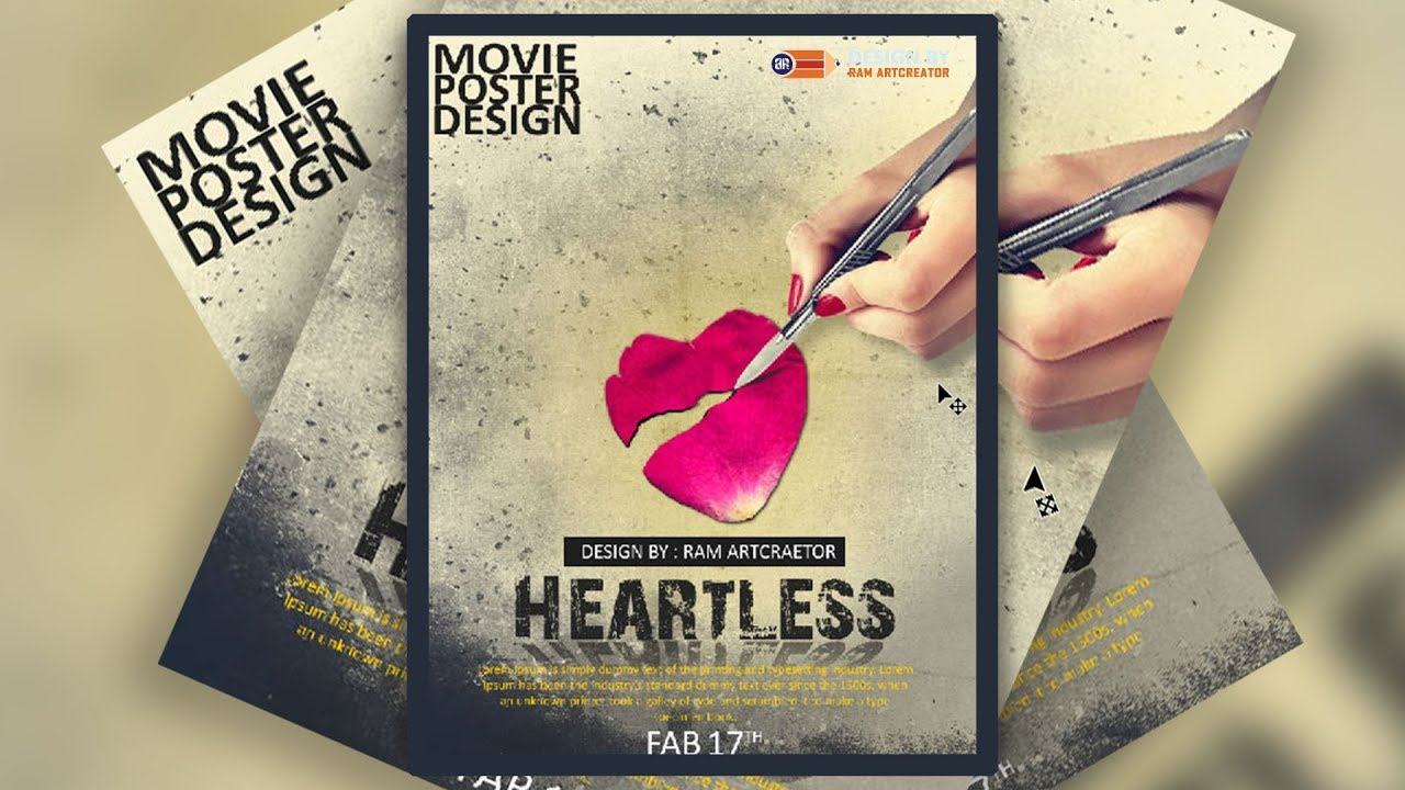 Photoshop poster design youtube - Movie Poster Design In Photoshop Cc Learn On Youtube Free