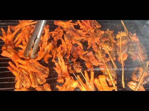 Asian Street Food Khmer Fast Food Grilled Shrimp Grill Chicken