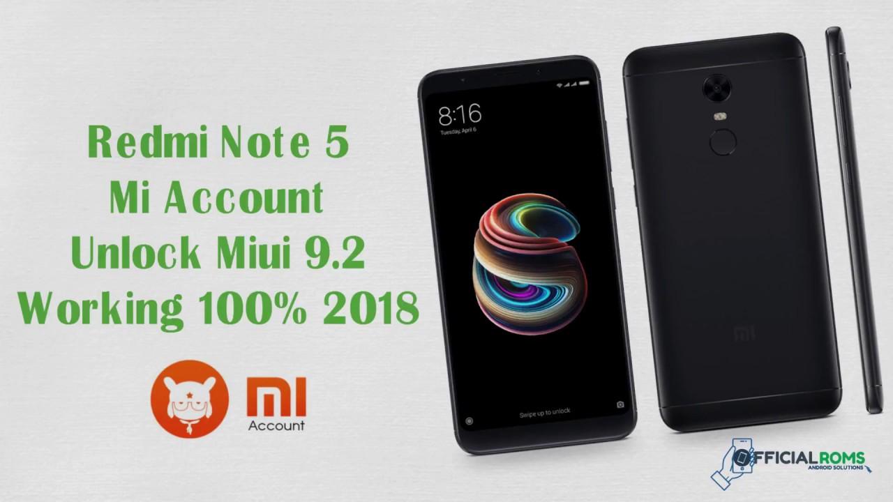 Redmi note 5  miui 9.2 Naugat 7.0 Mi Account Remove using adb tool || officialroms