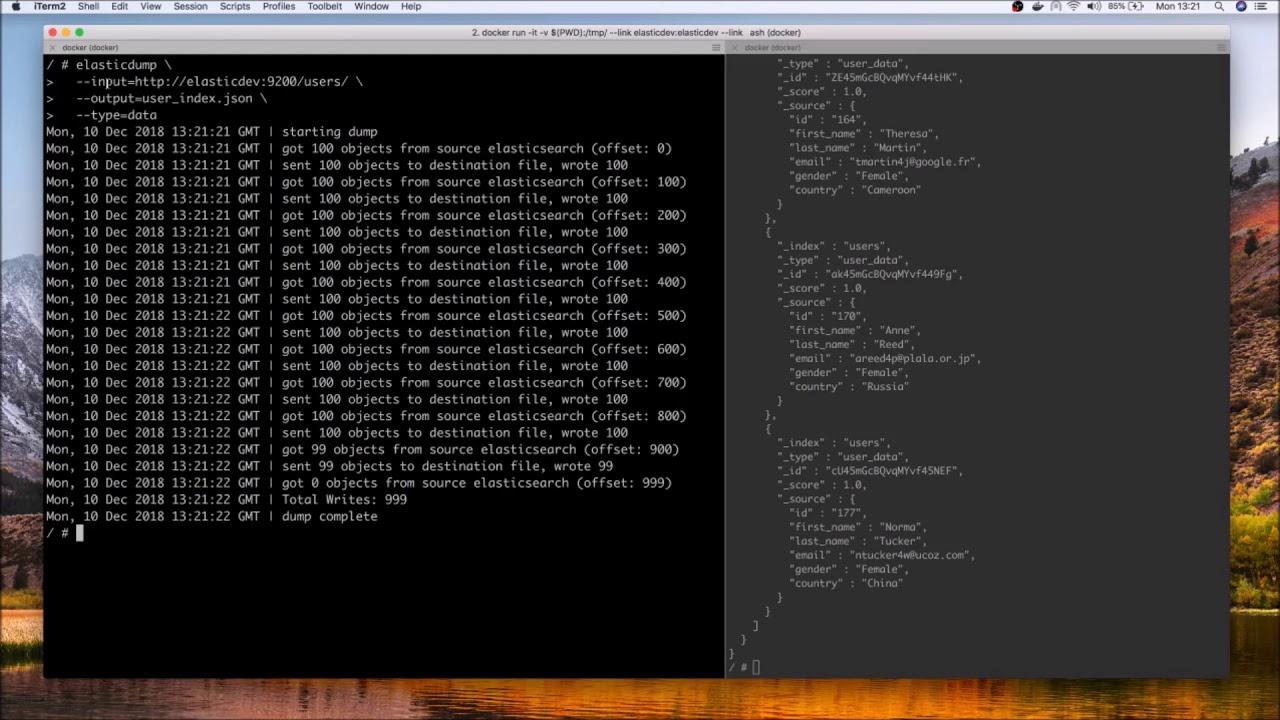 Elasticdump : Export and migrate data from Elasticsearch