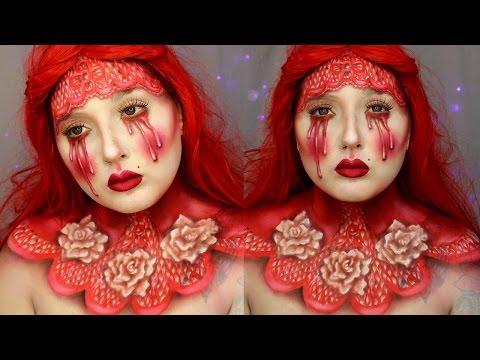Red Queen of Bleeding Hearts Makeup Tutorial - Jordan Hanz - 동영상