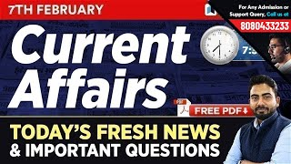#234 : 7 February 2019 Current Affairs in Hindi | Current Affairs February 2019 Questions + GK Notes