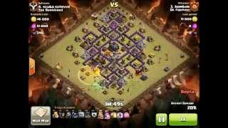 3 star clan war attack at Town Hall 9 diamond base with Golem Pekka Wizard Witch - clash of clans