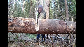 Bushcraft team camp, I made a wooden sledgehammer & a shovel, sawed wood 20 inches in DIA Eng sub