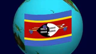 Swaziland Flag on the Earth