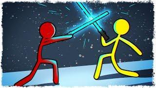 АК 47 vs ДЖЕДАЙ С МЕЧОМ В STICK FIGHT THE GAME!!!
