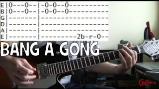 guitar lessons for how to play bang a gong get it on by T rex TAB B...
