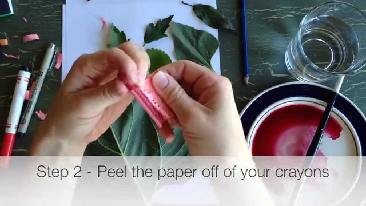 Crayon leaf Rubbings with a beet paint (or watercolor) wash