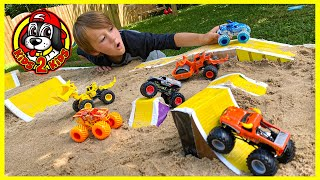 FIRE & ICE Monster Jam Toys - Outdoor Play at Home DIY MONSTER TRUCK STADIUM Arena FREESTYLE SHOW!