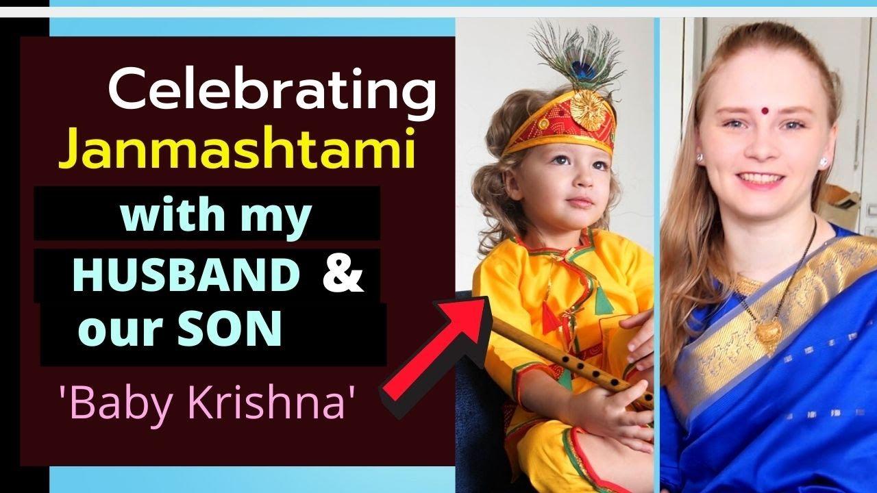 Foreigner celebrating Janmashtami | Becoming Desi? | Karolina Goswami, her husband, and their son