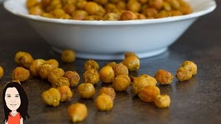 Crunchy Curried Chickpeas - Oven Roasted Vegan Snack!
