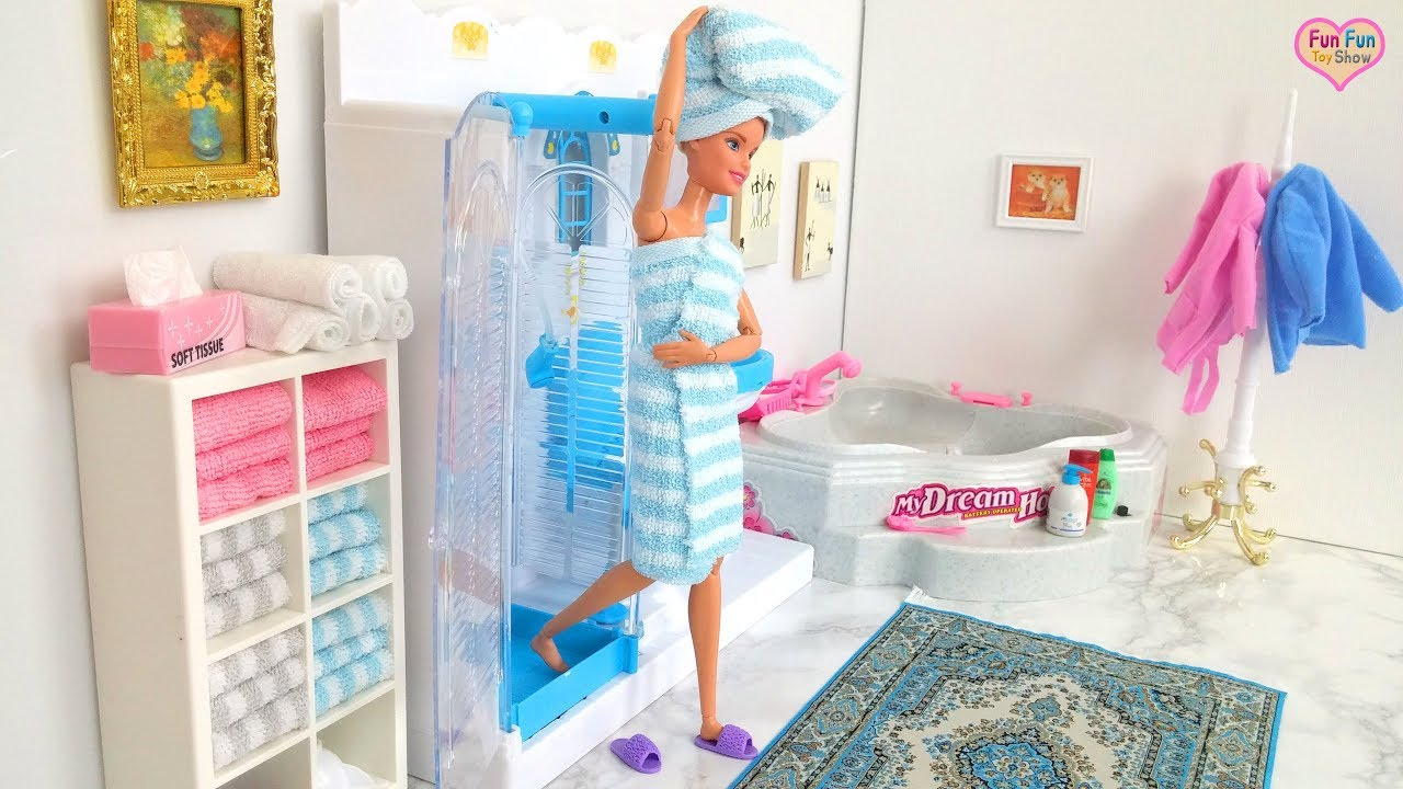 Barbie Doll Shower Time Waktu Mandi Boneka Barbie Barbie Boneca Tempo De Banho