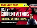 2nd May Current Affairs 2018 - Today Current Affairs Quiz for SSC & Railway Exams | Download as PDF!